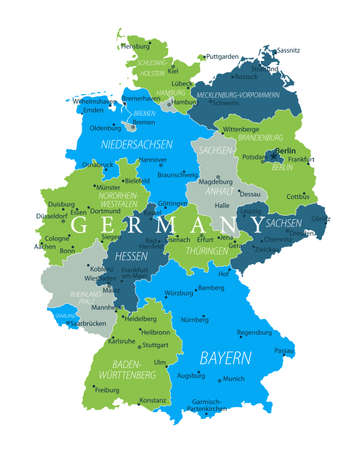 Germany Map - Blue Green Gray Isolated on White - detailed vector illustration