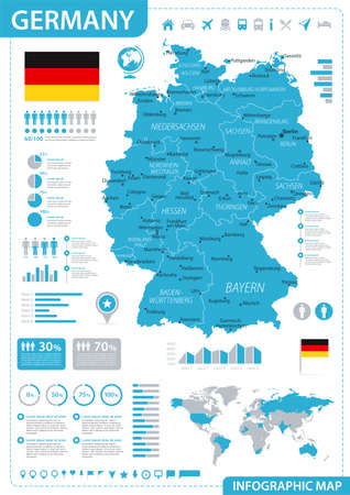 Germany Map - Blue Infographic - detailed vector illustration