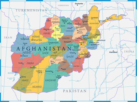 Afghanistan Map Political - Capital, Cities, Rivers and Lakes - detailed vector illustration Ilustração