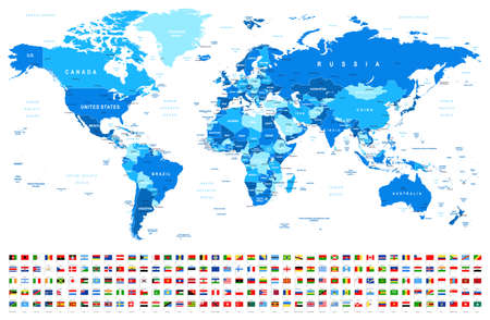Carte du monde bleu et drapeaux - frontières, pays et villes - illustration vectorielle