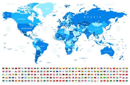 Mapa del mundo azul y banderas - fronteras, países y ciudades - ilustración vectorial