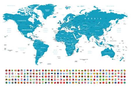Carte du monde et drapeaux - frontières, pays et villes - illustration vectorielle Vecteurs