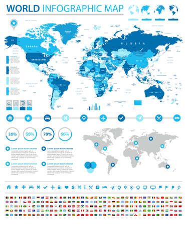 World Map and Flags - borders, countries and cities - vector infographic illustration