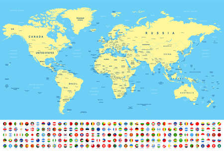World Map and Flags - borders, countries and cities -vector illustration Illustration