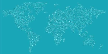 Vektorweltkarte - Globale Kommunikation