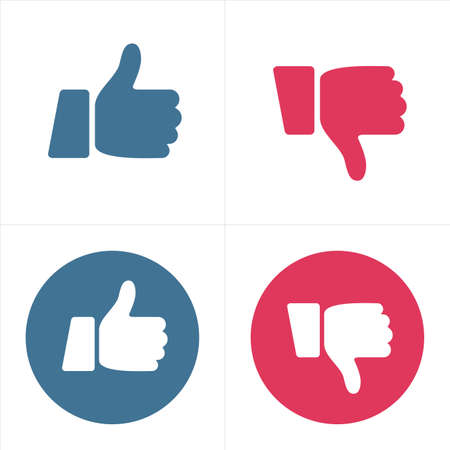 Like and Dislike Icons -Thumb Up and Thumb Down - illustration vector