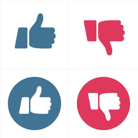 Vind ik leuk en niet leuk pictogrammen - duim omhoog en duim omlaag - illustratie vector