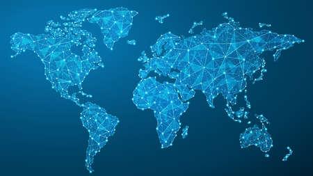Mapa del mundo vectorial - comunicación global - líneas, puntos, triángulos, partículas - plexo