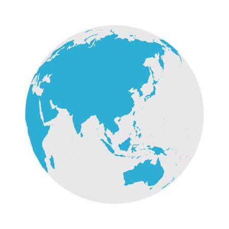 Wereldbolpictogram - ronde wereldkaart platte vectorillustratie Vector Illustratie