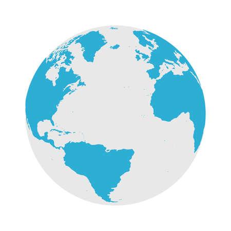 Icono de globo - ilustración de Vector plano de mapa del mundo redondo