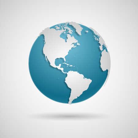 Icono de globo - ilustración de Vector de mapa del mundo redondo Ilustración de vector