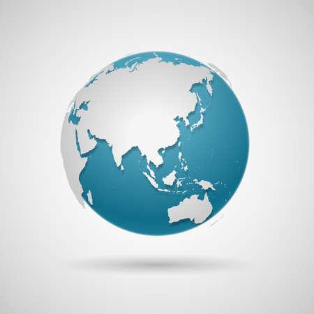 Icona del globo - illustrazione vettoriale di mappa del mondo rotonda