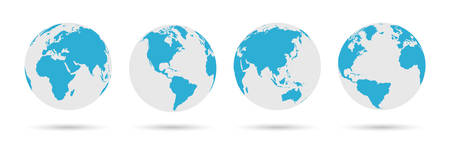 Globe Icon Set - Round World Map Vector Flat Illustration Ilustração