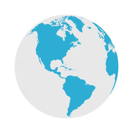 Icône de globe - Illustration vectorielle plane de carte du monde ronde