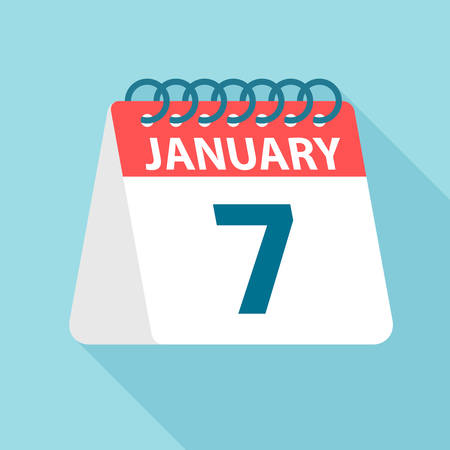 January 7 - Calendar Icon - Vector Illustration
