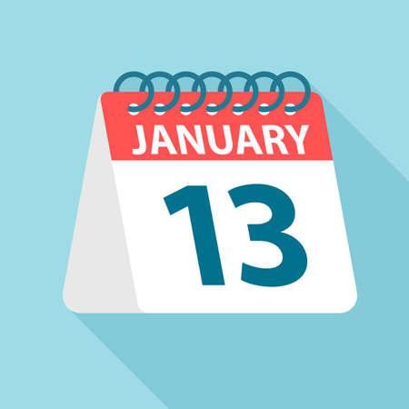 January 13 - Calendar Icon - Vector Illustration