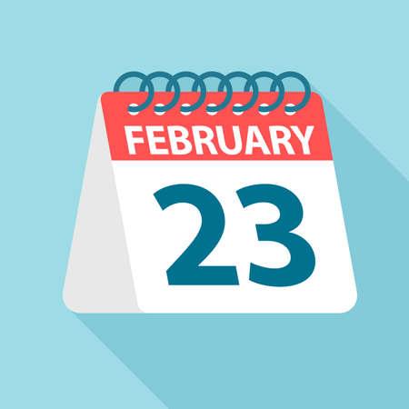 February 23 - Calendar Icon - Vector Illustration