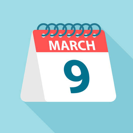 March 9 - Calendar Icon - Vector Illustration