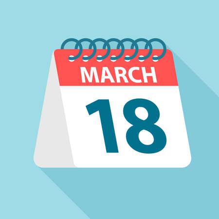 March 18 - Calendar Icon - Vector Illustration