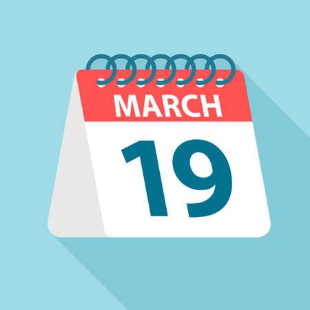 March 19 - Calendar Icon - Vector Illustration
