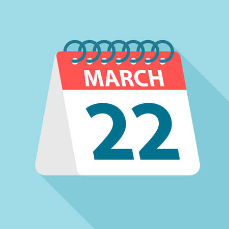 March 22 - Calendar Icon - Vector Illustration