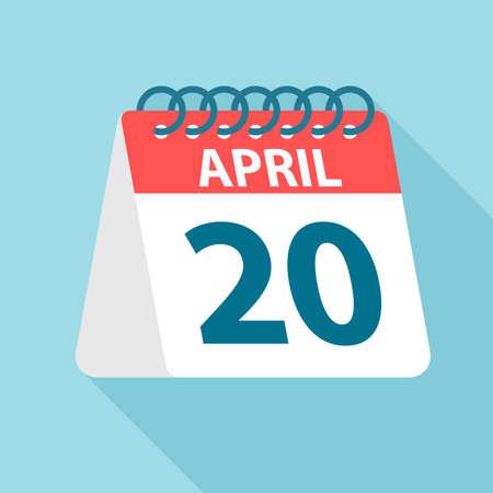 April 20 - Calendar Icon - Vector Illustration