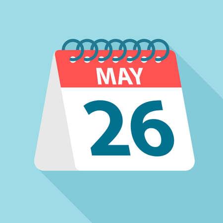 May 26 - Calendar Icon - Vector Illustration 矢量图像