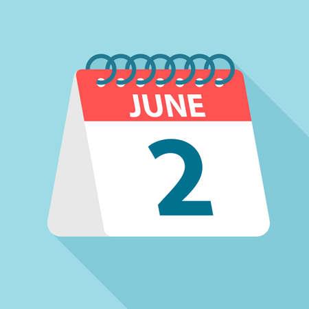 June 2 - Calendar Icon - Vector Illustration