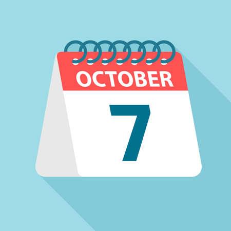October 7 - Calendar Icon - Vector Illustration