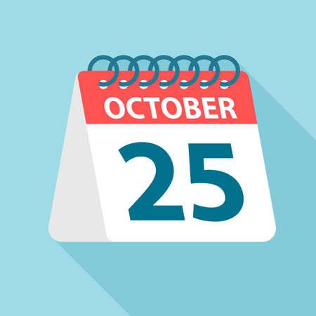 October 25 - Calendar Icon - Vector Illustration