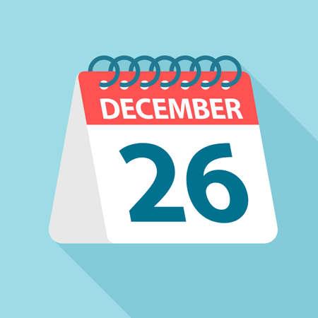 December 26 - Calendar Icon - Vector Illustration