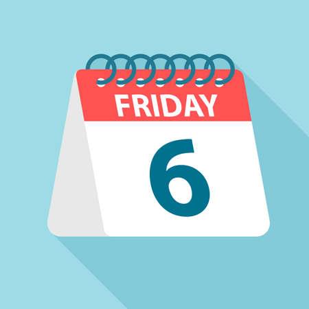 Friday 6 - Calendar Icon - Vector Illustration  イラスト・ベクター素材