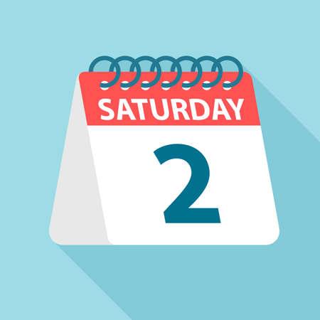 Saturday 2 - Calendar Icon - Vector Illustration