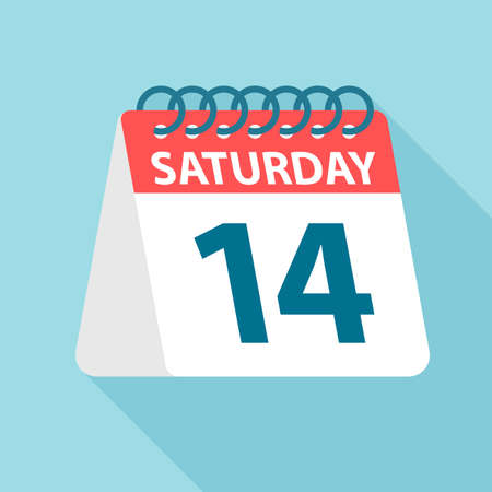 Saturday 14 - Calendar Icon - Vector Illustration Ilustração