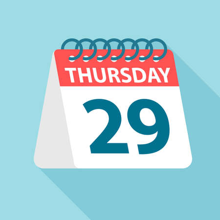 Thursday 29 - Calendar Icon - Vector Illustration