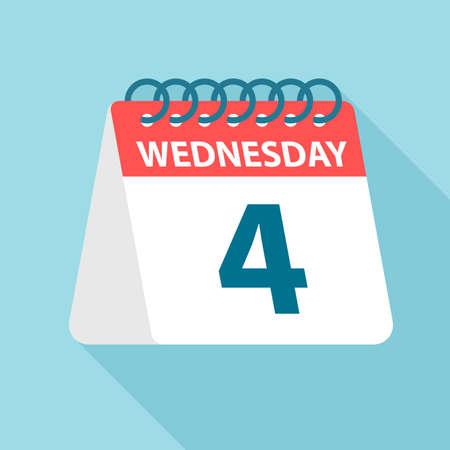 Wednesday 4 - Calendar Icon - Vector Illustration