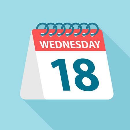 Wednesday 18 - Calendar Icon - Vector Illustration