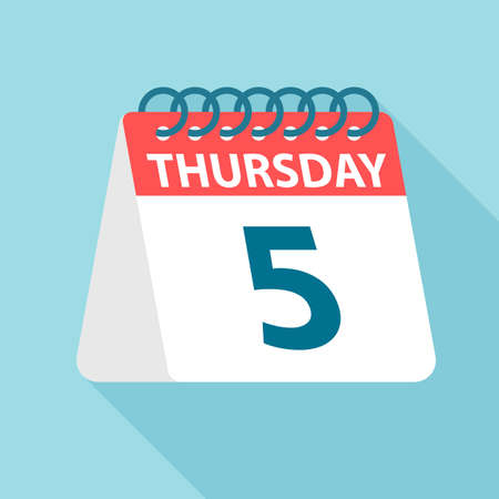 Thursday 5 - Calendar Icon - Vector Illustration