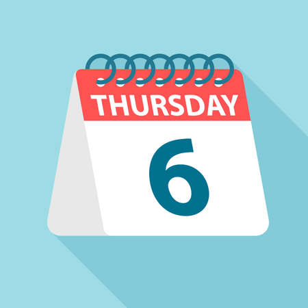 Thursday 6 - Calendar Icon - Vector Illustration