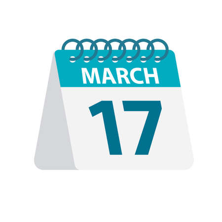 March 17 - Calendar Icon - Vector Illustration