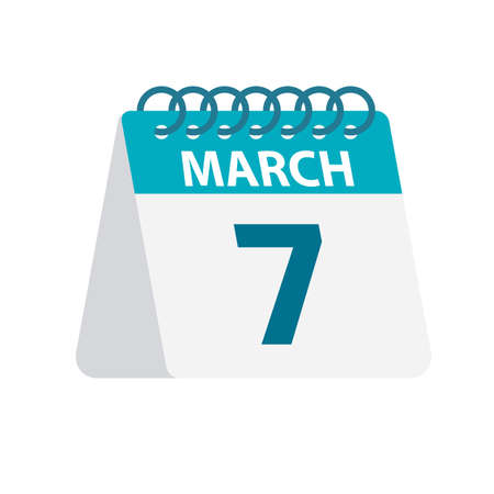 March 7 - Calendar Icon - Vector Illustration