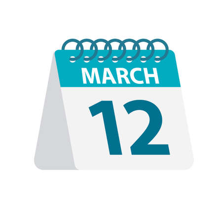 March 12 - Calendar Icon - Vector Illustration