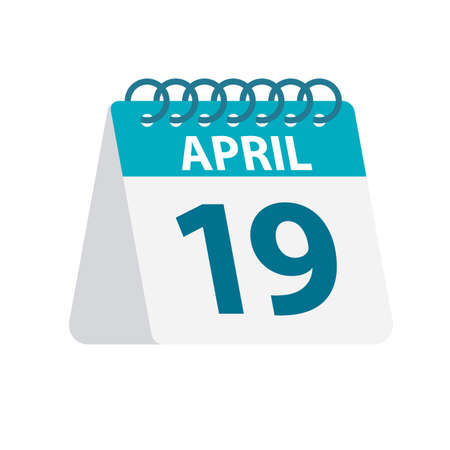 April 19 - Calendar Icon - Vector Illustration