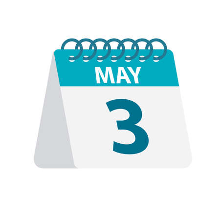 May 3 - Calendar Icon - Vector Illustration
