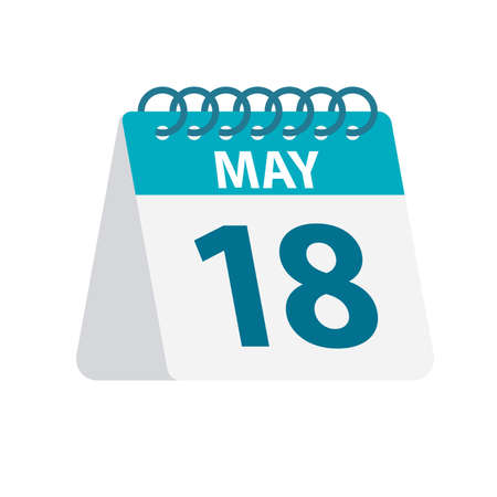 May 18 - Calendar Icon - Vector Illustration