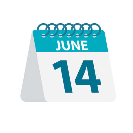 June 14 - Calendar Icon - Vector Illustration