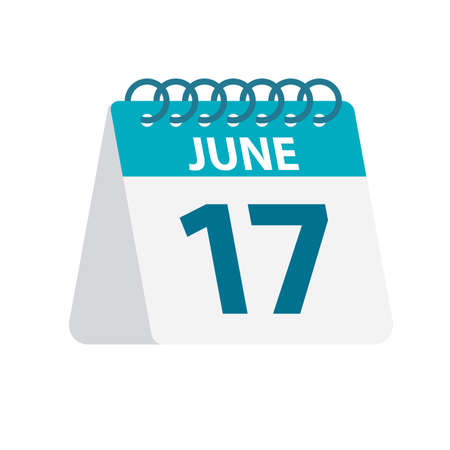 June 17 - Calendar Icon - Vector Illustration