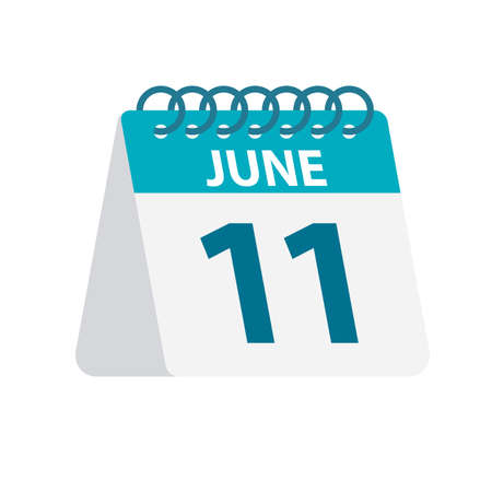 June 11 - Calendar Icon - Vector Illustration 向量圖像