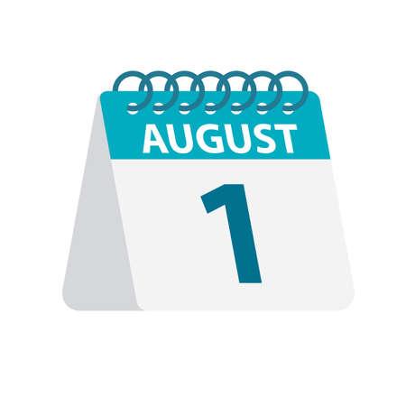 August 1 - Calendar Icon - Vector Illustration Çizim