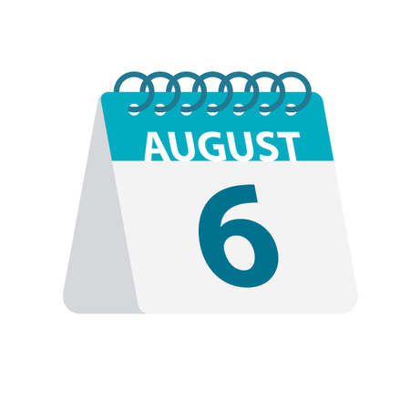 August 6 - Calendar Icon - Vector Illustration
